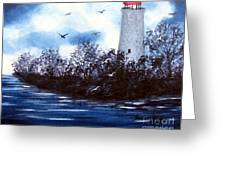 Lighthouse Blues Painterly Style Greeting Card