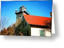 Lighthouse In The Fall Greeting Card