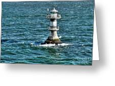 Lighthouse On The Blue Sea Greeting Card