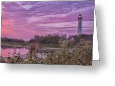 Lighthouse Red Dawn Greeting Card