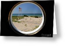 Lighthouse Window To Lake Greeting Card
