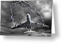 Lighting Striking An Aeroplane, Composite Greeting Card