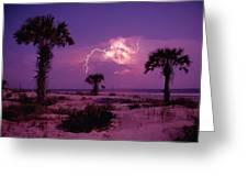 Lightning Illuminates The Purple Sky Greeting Card