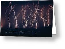 Lightning Near Barstow, California Greeting Card