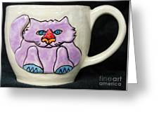 Lightning Nose Kitty Mug Greeting Card