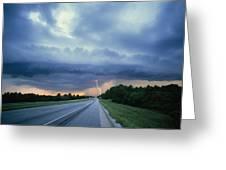 Lightning Over Highway, Bee Line Greeting Card
