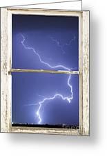 Lightning Strike White Barn Picture Window Frame Photo Art  Greeting Card