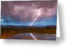 Lightning Striking Longs Peak Foothills 2 Greeting Card