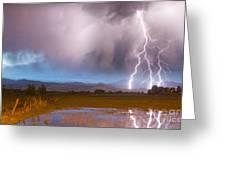 Lightning Striking Longs Peak Foothills 6 Greeting Card