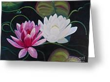 Lillies And Frog Greeting Card
