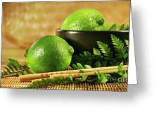 Limes With Chopsticks Greeting Card