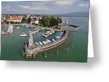 Lindau Harbor Lake Constance Bavaria Germany Greeting Card by Matthias Hauser