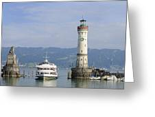 Lindau Harbor With Ship Bavaria Germany Greeting Card by Matthias Hauser