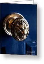 Lion Head Door Knob Greeting Card