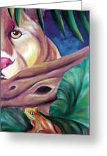 Lioness And Frog Greeting Card