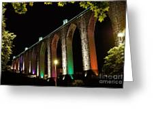 Lisbon Historic Aqueduct By Night Greeting Card