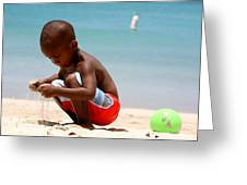 Little Boy Playing With Sand On The Beach Greeting Card