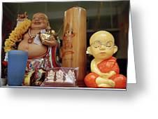 Little Buddhas In Silom In Bangkok In Thailand Greeting Card