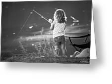 Little Fishing Girl Greeting Card