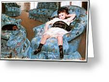 Little Girl In A Blue Armchair Greeting Card