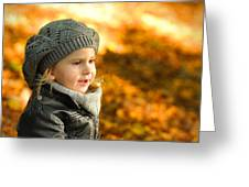 Little Girl In Autumn Leaves Scenery At Sunset Greeting Card