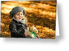 Little Girl In Autumn Leaves Greeting Card
