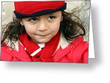 Little Girl In Red Greeting Card