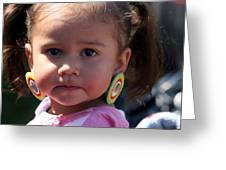 Little Girl With Earings Greeting Card