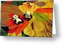Little Glass Pandas 50 Greeting Card