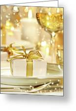 Little Gold Ribboned Gift Greeting Card by Sandra Cunningham