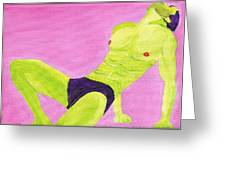 Little Green Man On Pink Greeting Card