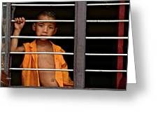 Little Monk In The Window  Greeting Card