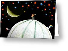 Little People Hiking On Fruits Under Starry Night Greeting Card