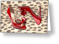 Little Red Bow Peep Toes Greeting Card