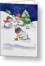 Little Snowmen Snowballing Greeting Card