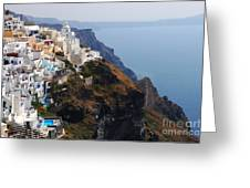 Living On The Edge In Santorini Greeting Card