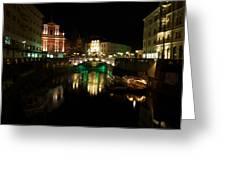 Ljubljana By Night Greeting Card