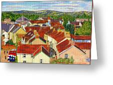 Painting Llandovery Roof Tops Greeting Card