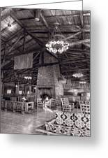 Lodge Starved Rock State Park Illinois Bw Greeting Card
