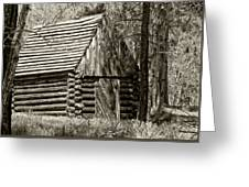 Log Building In The  Woods Greeting Card