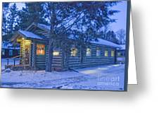 Log Cabin Library 1 Greeting Card