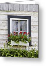 Log Home And Flower Box In The Window Greeting Card