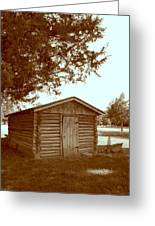Log Shed In The Shade Greeting Card