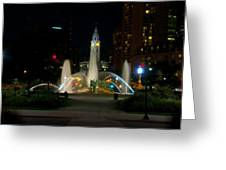Logan Circle Fountain With City Hall At Night Greeting Card by Bill Cannon