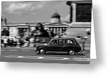 London Cab In Trafalgar Square Greeting Card