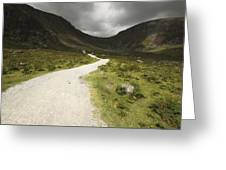 Lone Person Walking On A Path Leading Greeting Card