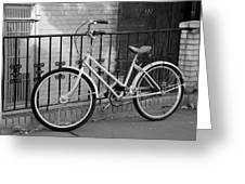 Lonely Bike In Black And White Greeting Card