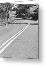 Long And Winding Road Bw Greeting Card