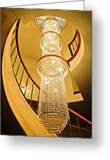 Long Chandelier Lights Up The Wall Greeting Card