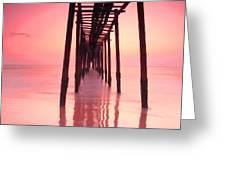 Long Exposure Wood Bridge To The Sea Greeting Card
